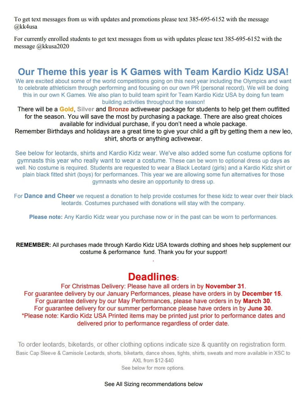 Registration info - Kardio Kidz: Gymnastics, Dance and Cheer